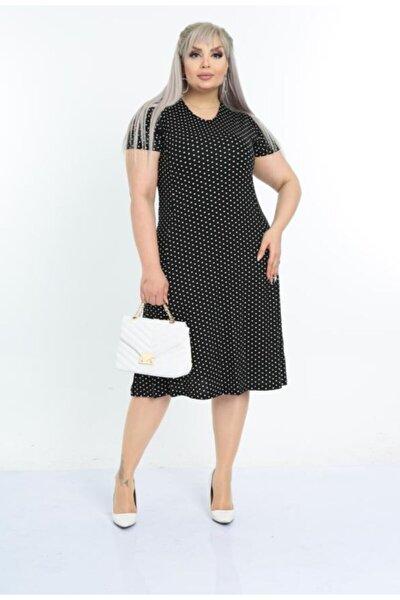 Kadın Siyah Puantiyeli Desen Göğüs Kuplu Büyük Beden Viskon Elbise