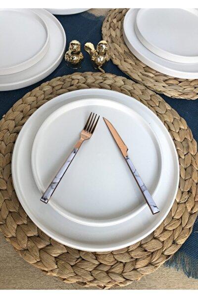 Stackable Mat Beyaz 12 Parça 6 Kişilik Kahvaltı Takımı