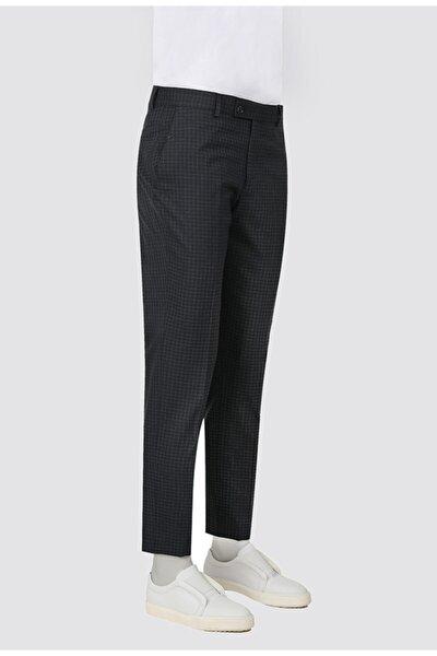 Twn Slim Fit Lacivert Kareli Kumaş Pantolon