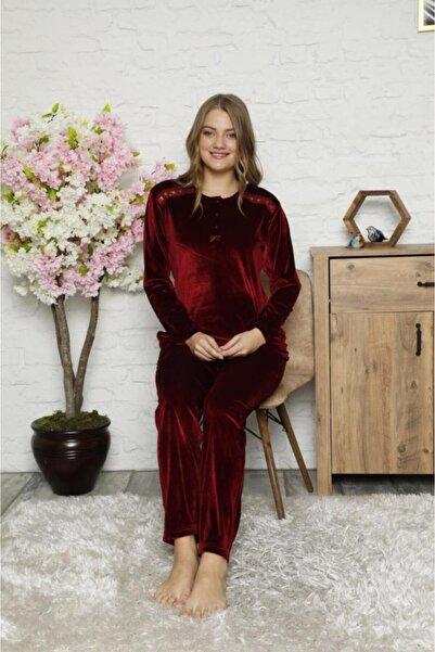 Kadın Açık Bordo Kadife  Renk 3 Düğmeli Pijama Takım