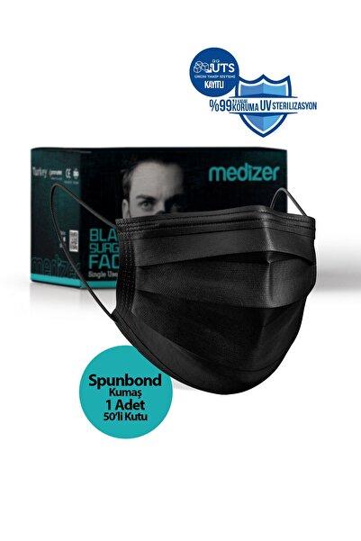 Medizer Siyah Burun Telli  Full Ultrasonik Cerrahi Ağız Maskesi 3 Katlı Spunbond Kumaş 50 Adet