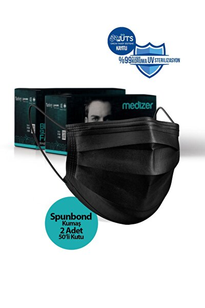 Medizer Siyah 3 Katlı Spunbond Kumaş Burun Telli Full Ultrasonik Cerrahi Ağız Maskesi 100 Adet