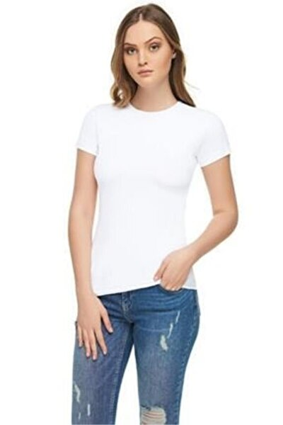 Kadın  Likralı  Beyaz Süprem Kumaş Bisiklet Yaka T Shirt