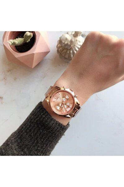 Kadran Tasarımlı Metal Rose Gold Kadın Kol Saati