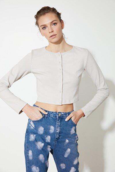 Taş Fitilli Crop Örme Bluz TWOAW21BZ0115