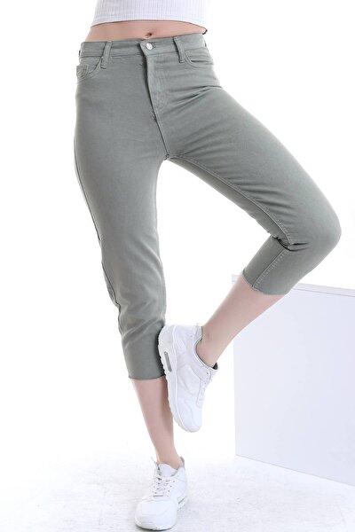Kadın Haki Yüksek Bel Cepli Paçası Kesik Renkli Mom Kot Pantolon