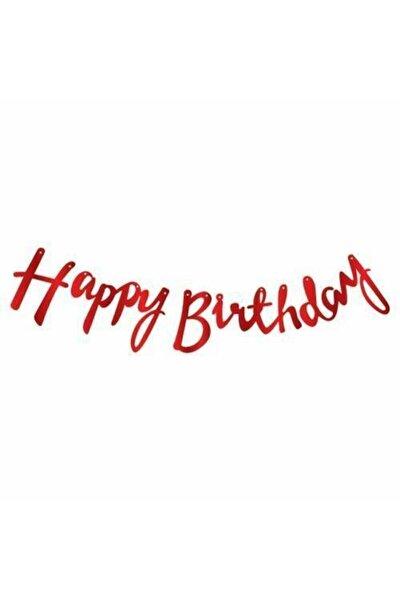 Çarşı Party Metalik Kırmızı Happy Bırthday Kaligrafi Yazı Banner 2,10 Cm