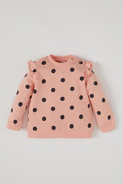 Kız Bebek Pembe Puantiye Desenli Fırfır Detaylı Sweatshirt