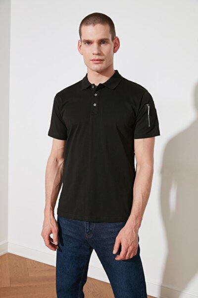 Siyah Erkek Slim Fit Fermuar Detaylı Kısa Kollu Polo Yaka T-shirt TMNSS20PO0167