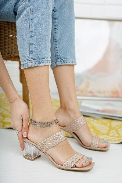 Kadın Metalik Bronz Örgü Bant ve Şeffaf Topuk Detaylı Topuklu Terlik