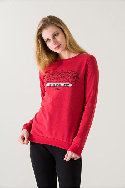 Kadın Slim Fit Bestground Baskılı Kırmızı Sweatshirt 4784b2
