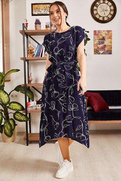 Kadın Lacivert Desenli Beli Lastikli Bağlamalı Elbise ARM-21K001158