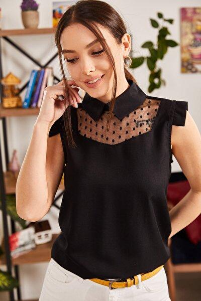 Kadın Siyah Yakalı Tüllü Bluz ARM-21K001154