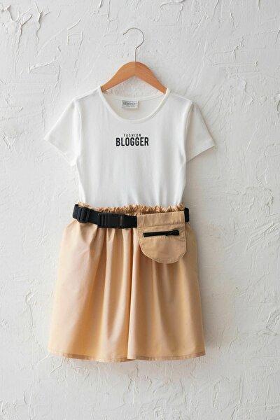 Kız Çocuk Ekru R9J Elbise