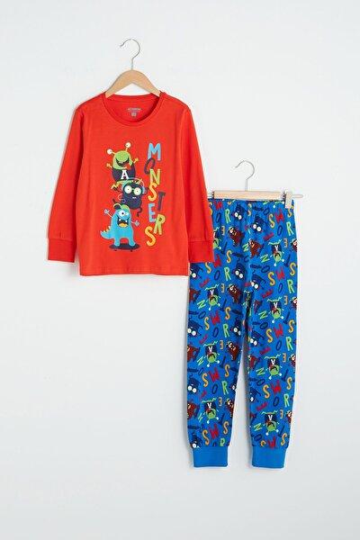 Erkek Çocuk Mavi Baskılı Lqq Pijama Takımı