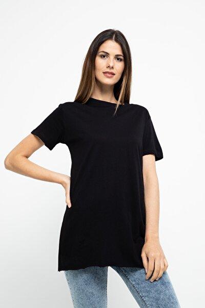 Kadın Siyah Bisiklet Yaka T-Shirt - 24393