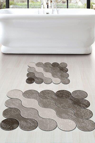 60x90 - 50x60 Brown Drop Dijital Banyo Halısı Lazer Kesim Klozet Takımı 2'li Paspas Seti