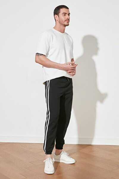 Siyah Erkek Jogger Şeritli Lastikli Eşofman Altı TMNSS20EA0050