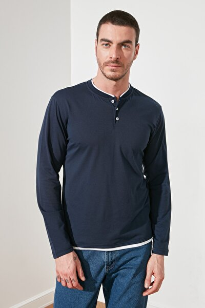 Lacivert Erkek Uzun Kollu Düğme Yakalı Slim Fit T-Shirt TMNSS20TS0015