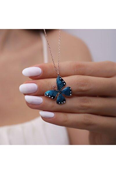 Kadın Gümüş Mineli Mavi Kelebek Kolye 925 Ayar