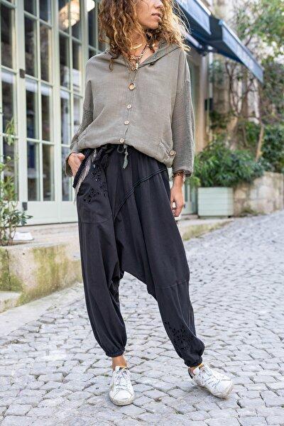 Kadın Siyah Yıkamalı Zincir Detaylı Brode Detaylı Şalvar Pantolon GK-RSD2025