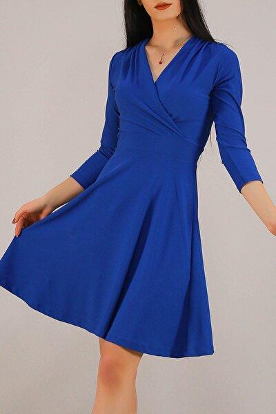 Kruvaze Elbise Mavi