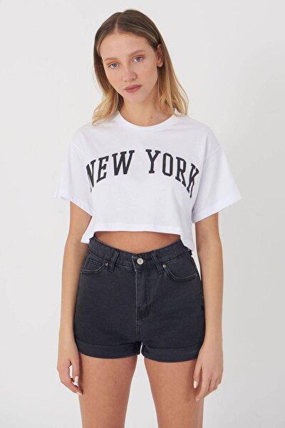 Yazı Detaylı Kısa T-shirt P12230 - Y2