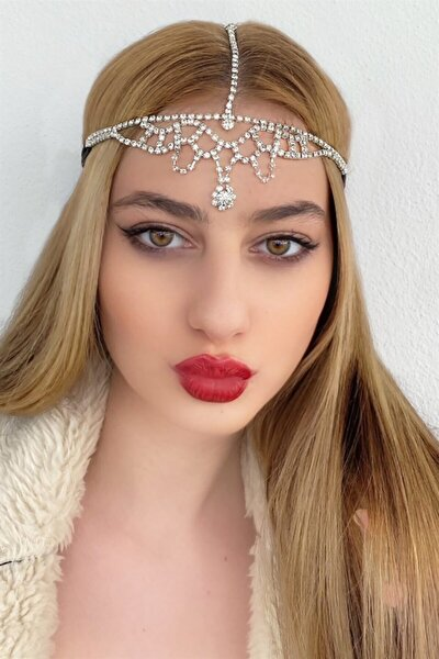 Kadın Gümüş Renk Çiçek Taş Figürlü Alınlık