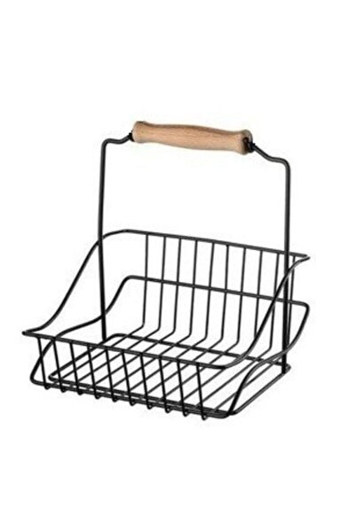 Ahşap Saplı Siyah Metal Mutfak Sepeti 20x20 Cm