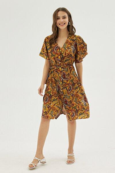 Kadın Sarı Desenli Kısa Kollu Dokuma Elbise P21s169-1535