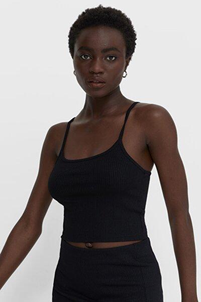 Kadın Siyah Askılı T-Shirt 02648672