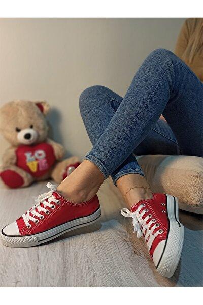 Kadın Kırmızı Keten Sneaker