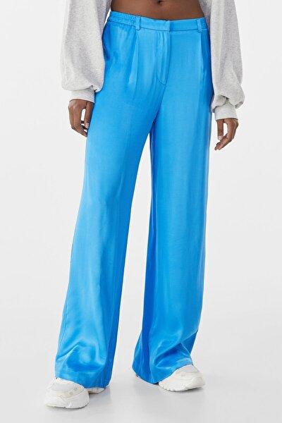 Kadın Mavi Wide Leg Saten Pantolon 00122200
