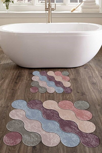 60x90 - 50x60 Rainbow Drop Dijital Banyo Halısı Lazer Kesim 2'li Klozet Takımı