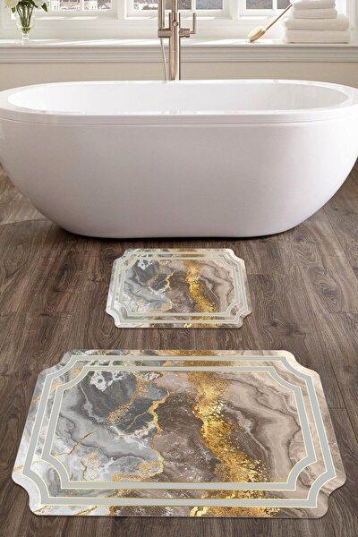 60x90 - 50x60 Julia Dijital Banyo Halısı Lazer Kesim Klozet Takımı 2'li Paspas Seti