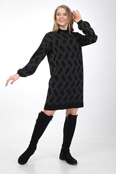 Kadın Siyah Simli Bol Kalıp Triko Elbise Model-4