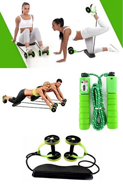 2'li Set Tekerlekli Göbek Eritme Mekik Fitness Kondisyon Egzersiz Spor Aleti Sayaçlı Atlama Ipi