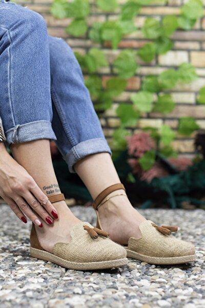 Kadın Kahverengi Hasır Günlük Ayakkabı 0012ys04