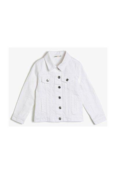 Kız Çocuk Beyaz Düğme Detay Jean Ceket 0ykg57161odd