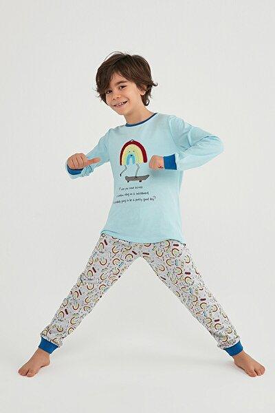 Erkek Çocuk Mavi Pijama Takımı 2'li