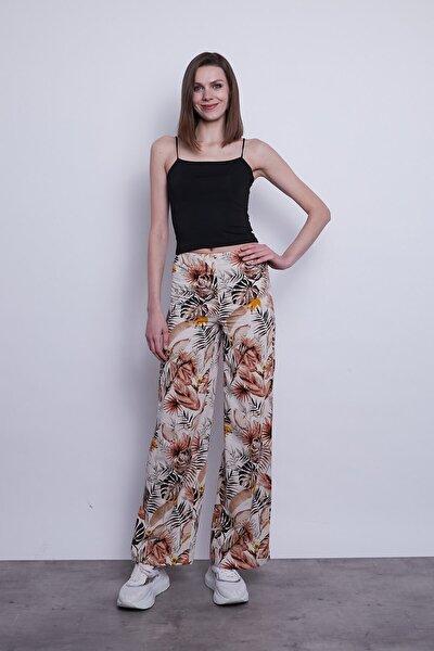 Bayan Bej Keten Desenli Beli Lastikli Pantolon
