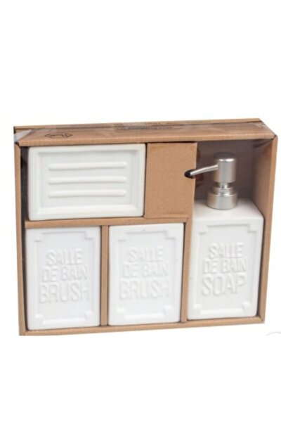 Well 4 Parça Seramik Banyo Seti Kare Beyaz
