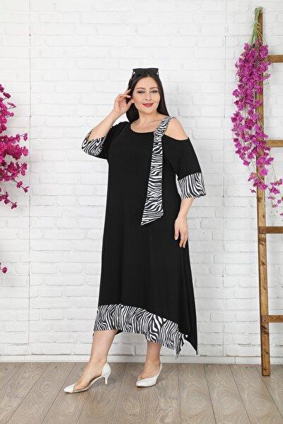 Kadın Büyük Beden Siyah Zebra Desen Elbise