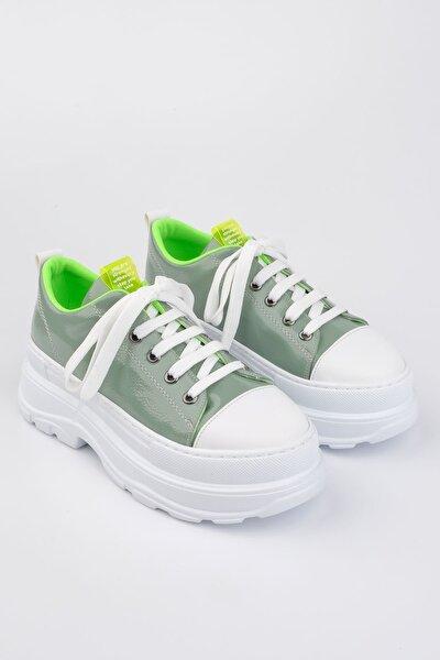 Kadın Yeşil Sneaker Kalın Taban Spor Ayakkabı Likoz
