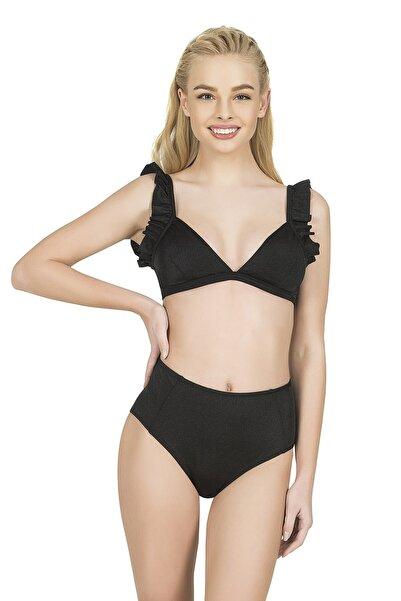 Kadın Siyah Fırfırlı Yüksek Bel Bikini Takımı