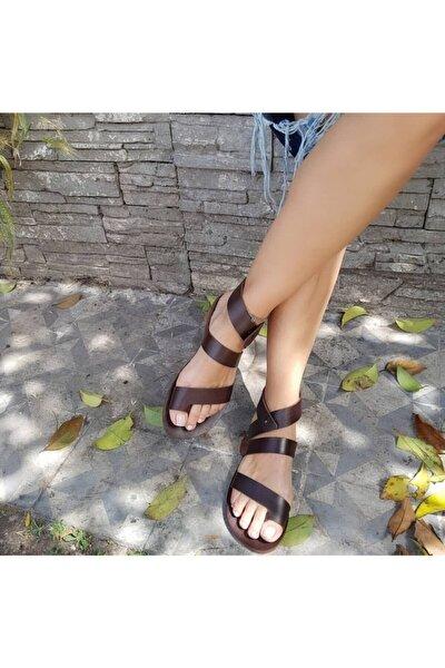 El Yapımı Hakiki Deri Kahve Kadın Sandalet - 2049