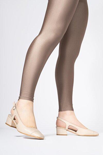 Kadın Bej Hakiki Deri Küt Burunlu Kare Topuklu Ayakkabı