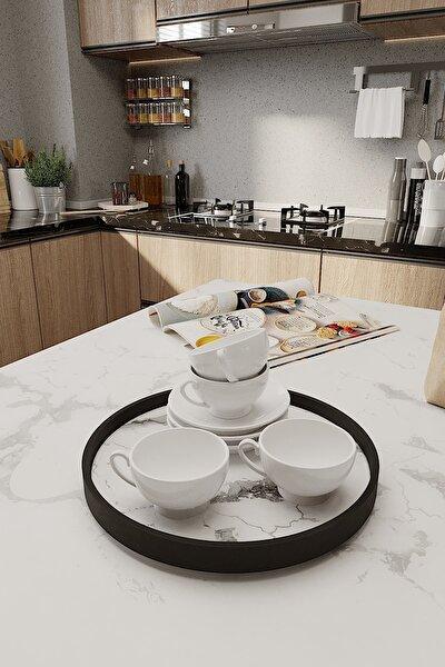 Beyaz Mermer Desenli Banyo Kozmetik Takı Mutfak Düzenleyici Organizer