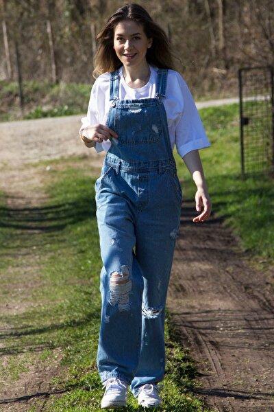 Mavi Bahçıvan Salopet Yırtık Jean Tulum