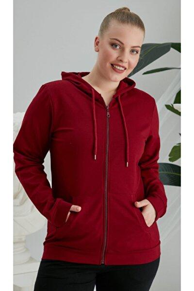 Kadın Kırmızı Büyük Beden Fermuarlı  Sweatshirt